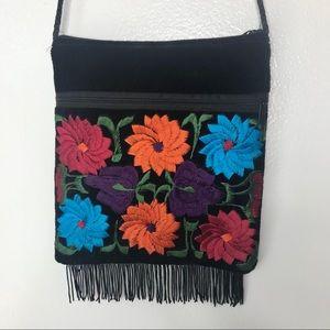 Bags - Black velvet floral purse. OS